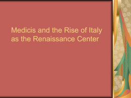 Italy At the Start of the Renaissance