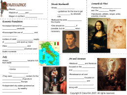 Presentation 1 Handout - The Renaissance
