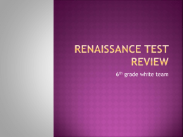 Renaissance Test Review - Center Grove Community School