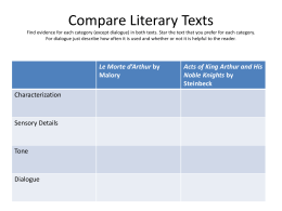 Compare Literary Texts Find evidence for each category
