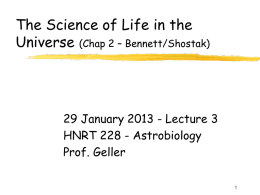 The Science of Life in the Universe (Chap 2