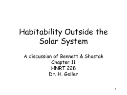 Habitability - Department of Physics and Astronomy