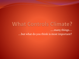 What Controls Climate?