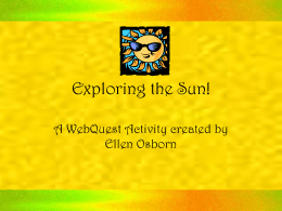 Exploring the Sun! - Millstone Township Schools
