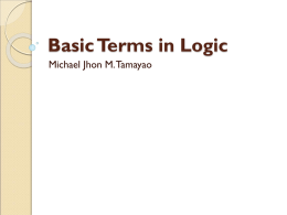 Basic Terms in Logic - Law, Politics, and Philosophy
