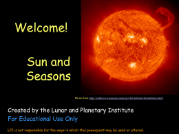 Sun Powerpoint without Movies - Lunar and Planetary Institute