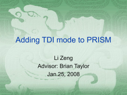 Adding TDI mode to PRISM - Harvard–Smithsonian Center