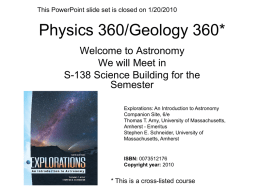 Astronomy 360 - Department of Chemistry and Physics