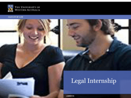 Legal Internship - University of Western Australia