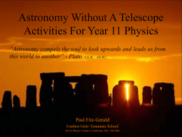 Astronomy Without A Telescope For Year 11 Physics