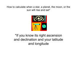 How to calculate when a star will rise and set