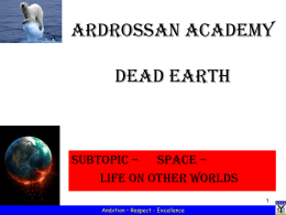 Dead Earth – Lesson 4 – Life on other worlds