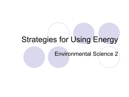 Strategies for Using Energy