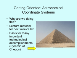 29 August: Getting Oriented, Astronomical Coordinate Systems