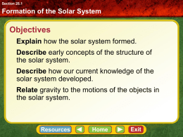 Formation of the Solar System Section 28.1