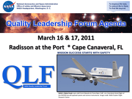 NASA Quality Leadership Forum Radisson at the Port | March