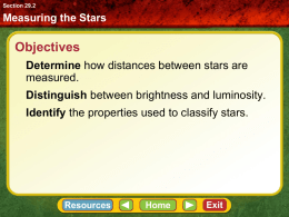 Measuring the Stars Section 29.2