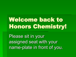 Welcome back to Chemistry!