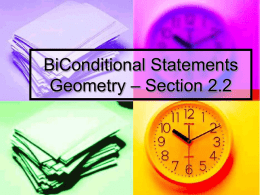 Conditional Statement Review Geometry – Section 2.2