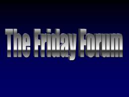 The Friday Forum