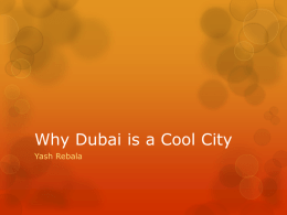 Why Dubai is a cool city