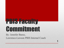 PBIS Faculty Commitment - Wisconsin PBIS Network