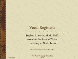 Vocal Registers - University of North Texas