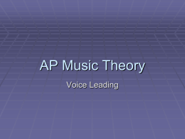 AP Theory Part 2 Voice Leading
