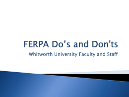 FERPA Do's and Don'ts - Whitworth University