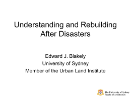 Understanding and Rebuilding After Disasters