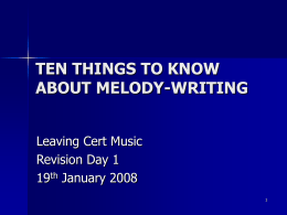 TEN THINGS TO KNOW ABOUT MELODY