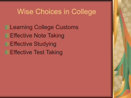 Wise Choices in College - MDC Faculty Home Pages