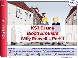 KS3 Drama – Blood Brothers, Willy Russell – Part 1