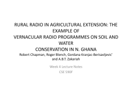RURAL RADIO IN AGRICULTURAL EXTENSION: THE EXAMPLE