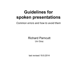 Guidelines for spoken presentations Common errors and how to