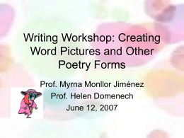Writing Workshop: Creating Word Pictures and Other