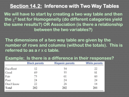 Section 14.2: Inference with Two Way Tables