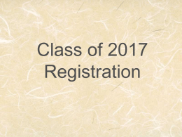Class of 2013 Registration - Morris Community High School