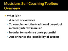 Musicians self coaching Toolbox Overview