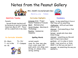 Notes from the Peanut Gallery
