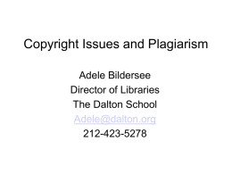 Copyright and plagarism