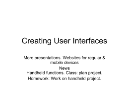 Creating User Interfaces - Purchase College Faculty Web Server