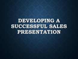 Effective Sales Presentations