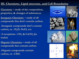 Chemistry, Lipids, and Cell Membranes