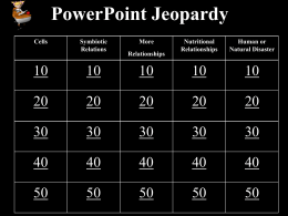 Life Science Jeopardy Review
