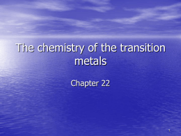 The chemistry of the transition metals