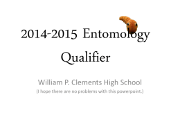2014-2015 Entomology Qualifier