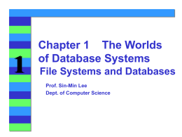 File Systems and Databases - Department of Computer Science
