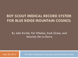 Boy Scout Medical Record System for Blue Ridge