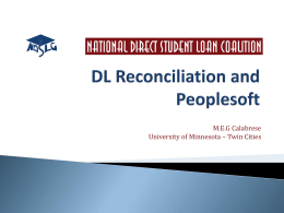 DL Reconciliation and Peoplesoft - National Direct Student Loan